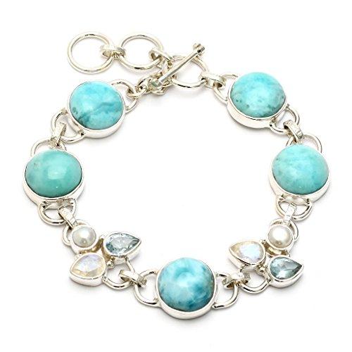 Mystic Silver - Bracelet Femme Larimar, Pierre de Lune, Topaze, Perle naturele, en argent sterling 925/1000 et Longueur: 21cm, 21g