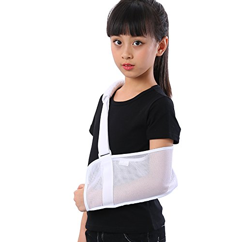 Medical Breathable Mesh Arm Sling(7.874 in) Shoulder Support Belt with Adjustable Strap, Injured Forearm Supporter Cuff Wrist Elbow Brace Immobilizer Fracture Protector for Children Kids, White