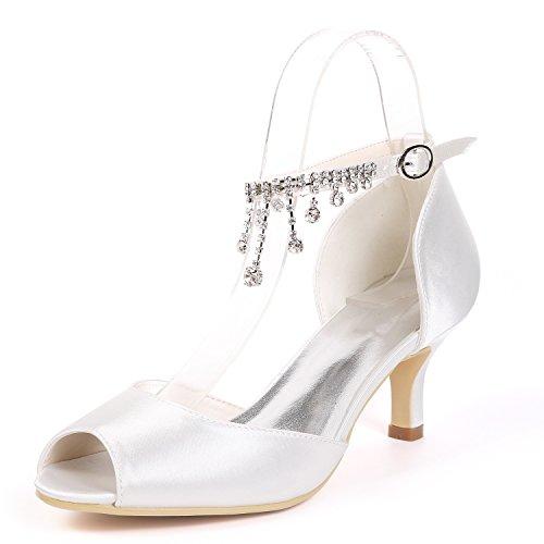 Plataforma Dedo Boda Mujeres Toe Satén White Pendiente Zapatos De yc L Rhinestones court Del Peep Pie Las Shoes Stiletto nCqzpwtXx0