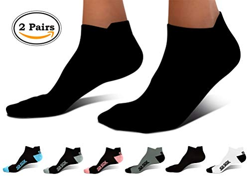 (SB SOX Ultralite Compression Running Socks for Men & Women (2 Pairs) - Perfect Option to Our Compression Socks - Best No-Show Socks for Running, Athletic, Everyday Use (Solid - Black, Large))