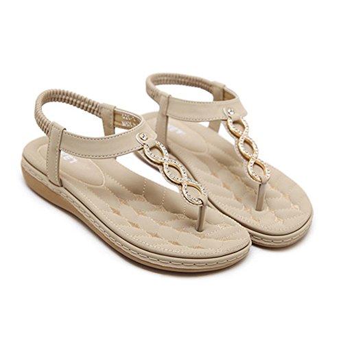 Femmes T-Strap Sandales Bohême Romaine Summer Beach Tongs Chaussures Plates Apricot COSk059
