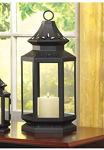 Large Black 16'' Colonial Country Western Candle Holder Lantern Outdoor Terrace Decorative Centerpieces for Living Dinning Room Table Decoration, Wedding Gifts