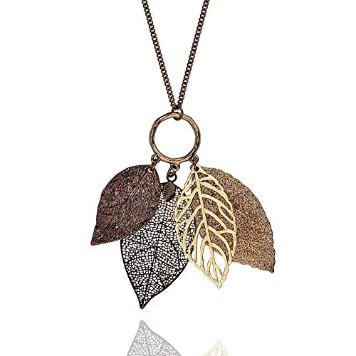 POMINA Filigree Leaves Gold Silver Long Necklace for Women (Worn Choco Gold) (Long Necklace Leaf)