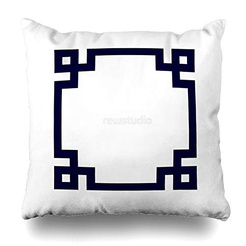 Key Embroidered Greek Pillow - Ahawoso Throw Pillow Cover Square 16x16 Inches Navy Blue Greek Key Square On White Decorative Pillow Case Home Decor Pillowcase