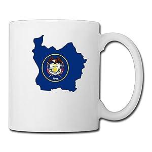 White Beaufiy Novelty Partial Flag Of USA Utah State Coffee Mug