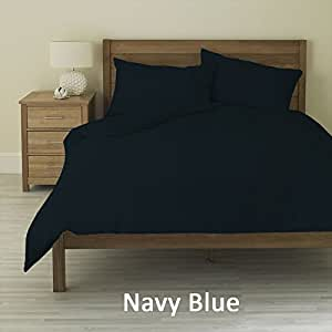 3 Piece Duvet Cover Set + 1 Fitted Sheet Navy Blue Color (Full , Solid) 10 Inch Deep Pocket 400 Thread Count 100% Egyptian Cotton