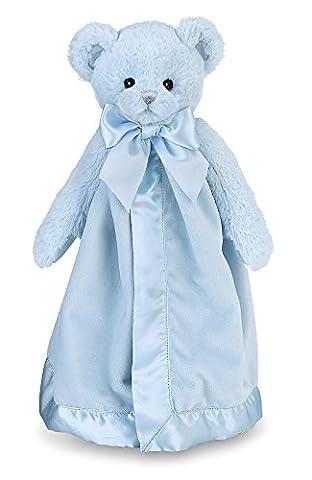 Bearington Baby Huggie Bear Blue Snuggler, Teddy Plush Security Blanket, Lovey 15