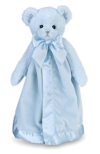 Bearington Baby Huggie Bear Snuggler, Blue Teddy Plush Stuffed Animal Security Blanket, Lovey 15
