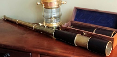34 Inch Leather and Antiqued Brass Telescope by A Simpler Time