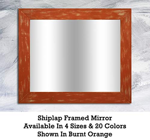 Shiplap Large Wood Framed Mirror Available in 4 Sizes and 20 Colors: - Orange Bathroom Mirrors County