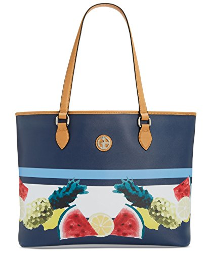 Giani Bernini Womens Saffiano Fruit Print Shopper Tote Handbag Navy Large