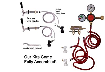 2 Faucet Fridge Kit with Ss Shank, Tailpiece and Standard Faucet, Ball Lock