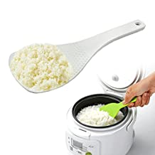 Set of 2, Household Kitchen Tools, Food Grade Non-Stick PP Rice Spoon Rice Scoop Paddle 8 Inch Length (White, Green)