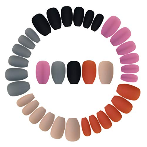 Wobe 120pcs Colorful Coffin Nails Matte False Gel Nails Art Tips Sets Full Cover Medium Matte False Nails for Ballerina Cosplay Office Lady 5Colors (Black Grey Caramel Coffee Milk Tea Dark Red Series)