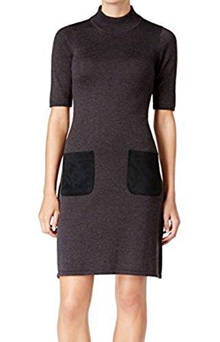Sweater Ladies Crewneck Short Sleeve (Calvin Klein Women's Short Sleeve Crew Neck Sweater Dress with Suede Parch Pockets, Black/Black, S)
