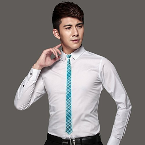 Silk Necktie Jacquard CAOFENVOO Formal Men's Tie Woven Blue Skinny 0tXqF