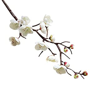 FILOL Artificial Silk Fake Flowers, Plum Blossom Floral Wedding Bouquet Party Decor (White) 107