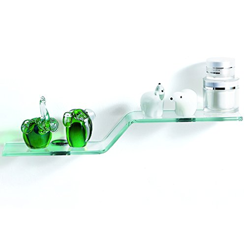 Contemporary Curved Glass - Fab Glass and Mirror FGM-L-Z003 Wave Clear Silver Chrome Brackets Glass Wall Shelf, 23,