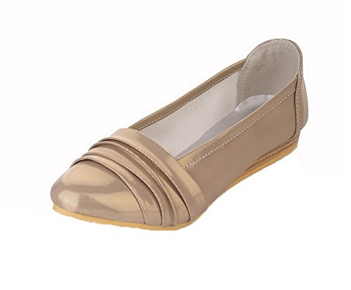 Odomolor Women's Round Toe Pu Pull-On Solid Low-Heels Court Shoes Gold 4MLDz
