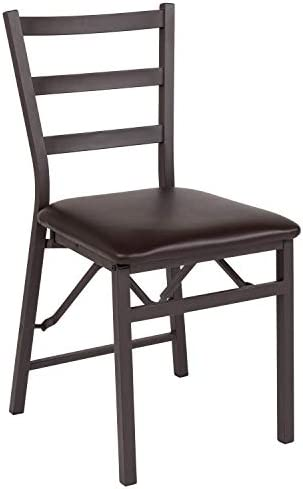 Flash Furniture HERCULES Series Brown Folding Ladder Back Metal Chair