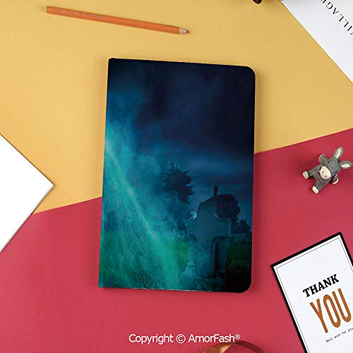 Case for Samsung Galaxy T820 T825 Slim Folding Stand Cover PU Tab S3 9.7,Halloween Decorations,Gothic Dark Backdrop with a Dead Skull Mystical Haunted Horror Theme,Blue]()
