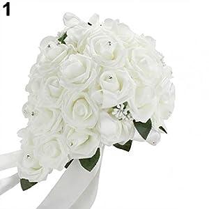 SoundsBeauty Wedding Bouquet Bridal Bridesmaid Artificial Foam Rose Flower Handmade Decor 104