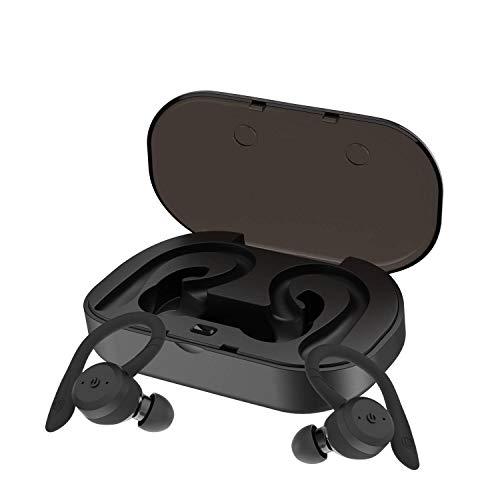(CYBORIS Bluetooth 5.0 Headset TWS Dual Headset True Wireless IPX7 Waterproof with Ear-Hook in-Ear Noise Canceling Headphones (Black))