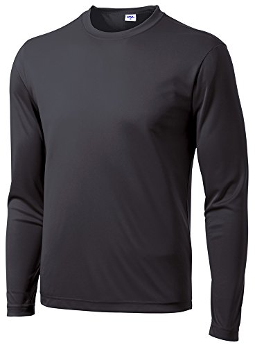 Opna Men's Long Sleeve Moisture Wicking Athletic Shirts IRNGRY-L Iron Grey