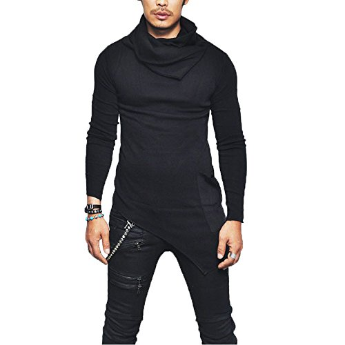 GOVOW Muscle Shirts for Men Cotton Slim Fit Turtleneck Long Sleeve Muscle Tee Casual Tops Blouse(XL,Black ) (Turtleneck Officio Ex)