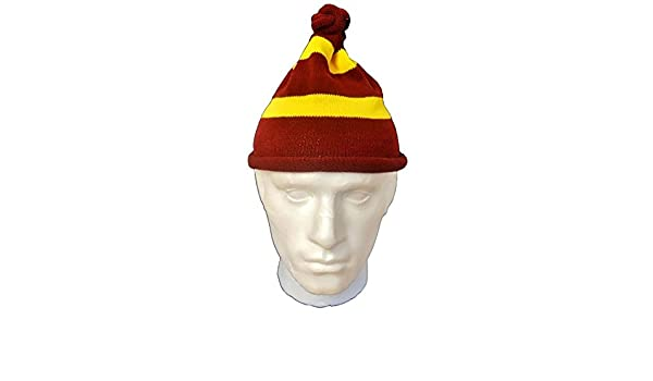 MA ONLINE Adults Knitted Yellow Maroon Wizard Hat Unisex Hen Night Party Hat Accessories