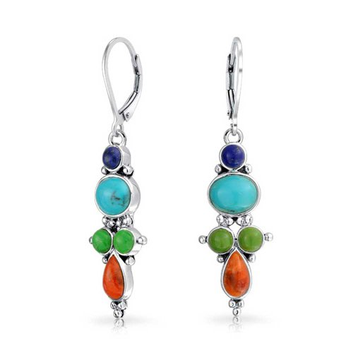- Southwestern Style Multi Stone Sterling Silver Lapis Enhanced Turquoise Red Coral Dangle Earrings