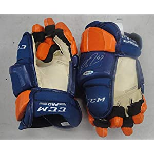 Connor McDavid Autographed CCM Blue & Orange Gloves Edmonton Oilers UDA