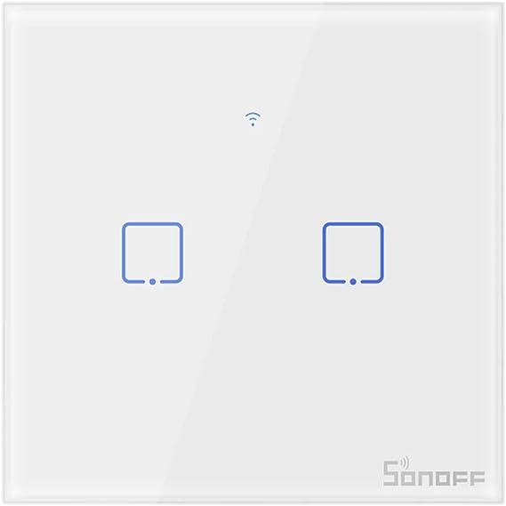 SONOFF T0EU2C Interruptor Mural para Luces Inalámbrico Wi-Fi Inteligente, Interruptor de Tipo 86 de 2 Canales para Soluciones de Automatización Domótica(1-Way): Amazon.es: Bricolaje y herramientas