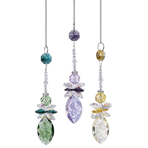 H&D Crystal Suncatcher Angel Rainbow Maker Octagon Beads with Faceted Teardrop Pendant,Pack of 3