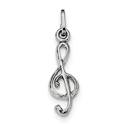 (Jewelry Best Seller Sterling Silver Rhodium Plated Polished Treble Clef Charm)