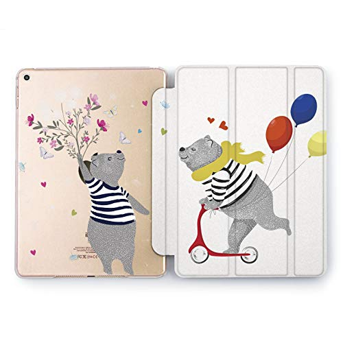 Wonder Wild Bear Couple iPad Case 9.7 Pro inch Mini 1 2 3 4 Air 2 10.5 12.9 2018 2017 Design 5th 6th Gen Clear Print Smart Hard Cover Riding Happy Love Relationship Butterfly in Stomach Cute Sweet