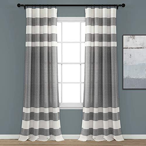 Lush Decor Gray Stripe Yarn-Dyed Cotton Window Curtain Set 84 x 40