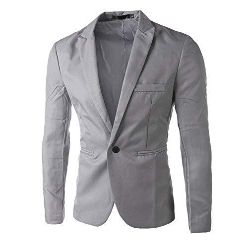 Charm Men's Casual Slim Fit One Button Suit Blazer Coat Jacket Tops Men Fashion Gray