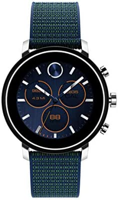 Movado Connect 2.0 Unisex Powered with Wear OS via Google Stainless Steel and Navy Velcro Fabric Smartwatch, Color: Navy (Model: 3660030)