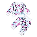 Baby Clothes Sets, Familizo Clearance Lovely Newborn Baby Girls Floral Print Coat Tops+Floral Pants Outfits Set Set Fashion Casual Kids Clothes for 6-24 Months