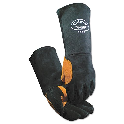 Caiman 1449 Heatflect Welding Gloves, Cow Split Leather, One Size Fits All, Black/Orange (Pack of 6)