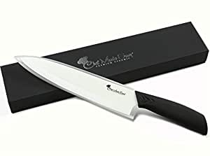 Chef Made Easy Ceramic Chef's Knife 8 Inch - Cutlery Kitchen Chef Knife with Elegant Gift Box and Custom Sheath- (Black)