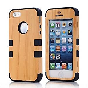 RC - 2 in 1 Wood Grain Style PC and Sillcone Composite Case for iPhone 5/5S(Assorted Colors) , Rose