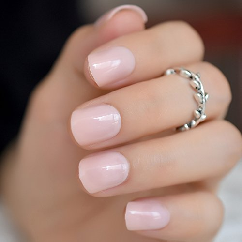 Aaviland Light Pink Candy Fake Nails Short Round Soft Pre-Designed Nail Tips Concise Manicure Accessories Easy DIY Salon Products P01 ()