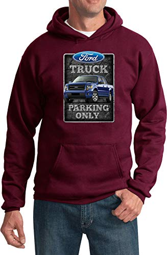 - Ford Truck Parking Sign Hoodie, Maroon XL
