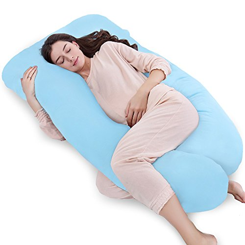 """QUEEN ROSE 55"""" Pregnancy Pillow- Full Body Maternity Body Pillow for Pregnant Women with Washable Outer Cover (Sky Blue)"""