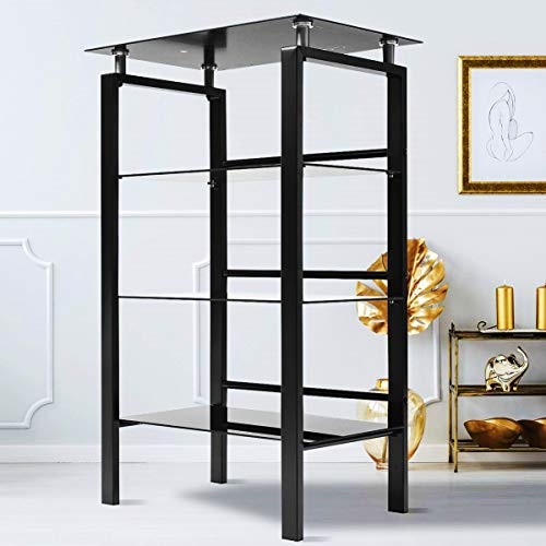 INTERGREAT Audio Stand Black Glass Audio Tower Audio Video Tower Components Shelf 4 Tier Audio Rack for Games Consoles, Stereo Equipment, Cable Boxes, Routers