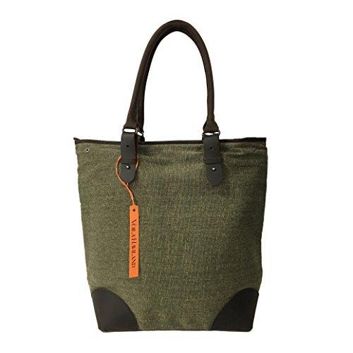 VOILA' HAVILAND bolso de mujer mod COMPRADOR verde lona estera algodón detalles piel