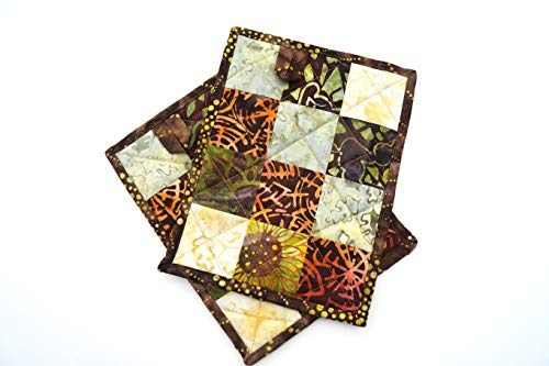 Batik Patchwork Quilted Pot Holders Set in Rich Earth Tones