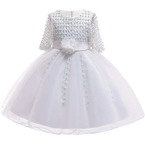 Myosotis510 Girls' Lace Princess Wedding Baptism Dress Long Sleeve Formal Party Wear for Toddler Baby Girl (4 Years, Pearls White) ()